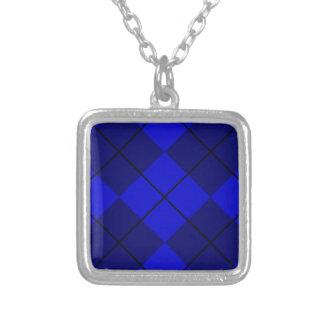 Bold Blue on Blue Argyle Square Pendant Necklace