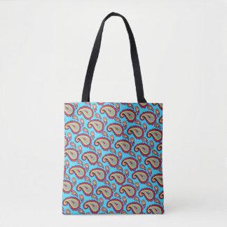 Bold Blue Paisley Tote Bag