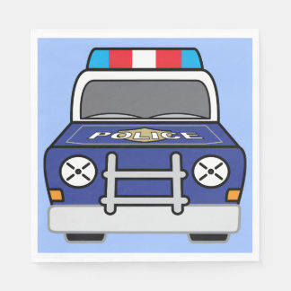 Bold Blue Police Patrol Car Disposable Napkins