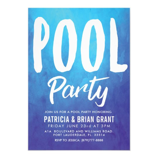 Bold Blue Pool Party Invite