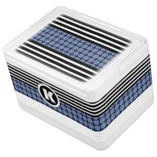 Bold Blue, White & Black w/Monogram Cooler