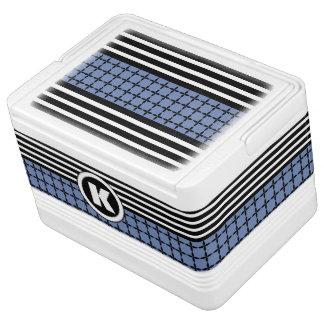 Bold Blue, White & Black w/Monogram Cooler