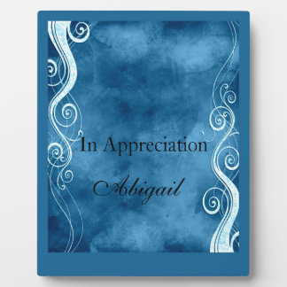 Bold Blue & White Curls Swirls Monogram Plaque