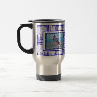 Bold Blue & White  Pattern Photo Template Stainless Steel Travel Mug