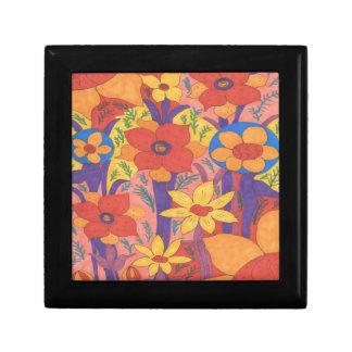 Bold Bohemian Orange Garden Print Gift Box