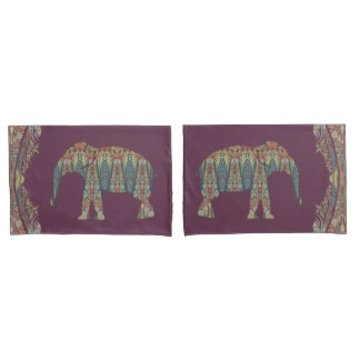 Bold Boho Chic Bedroom Kashmir Paisley Elephant Pillowcase