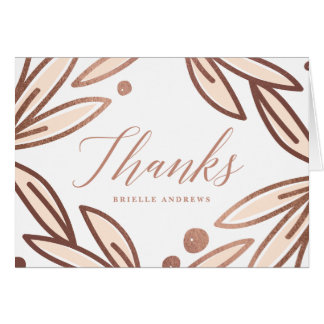 Bold botanical faux foil thank you notecard note card