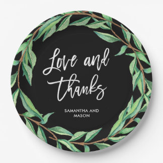 Bold Botanical Wedding   Love and Thanks Paper Plate