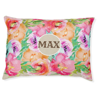 Bold Bright Colorful Watercolor Modern Floral Pet Bed