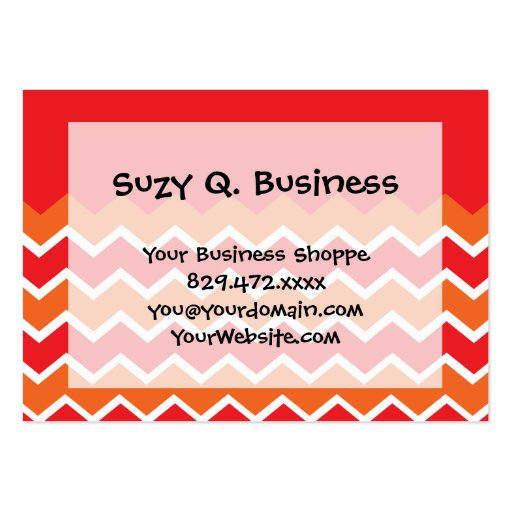 Bold Bright Orange Red Chevron Zigzag Pattern Business Cards