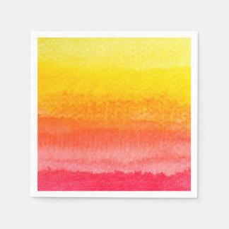 Bold Bright Orange Yellow Ombre Watercolor Paper Napkin