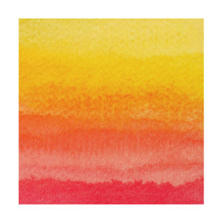 Bold Bright Orange Yellow Ombre Watercolor Wood Canvases