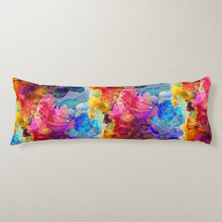 Bold & Bright Watercolor Floral Pattern Body Cushion