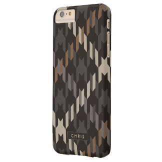 Bold brown houndstooth plaid pattern monogram barely there iPhone 6 plus case