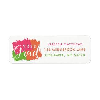Bold Brush Strokes Graduation Address Labels