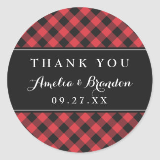 Bold Buffalo Plaid Red & Black Wedding Round Sticker