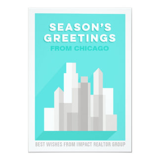 Bold Buildings Downtown Business Holiday Card 13 Cm X 18 Cm Invitation Card