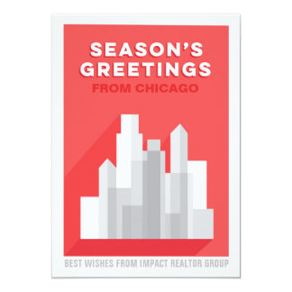 Bold Buildings Downtown Business Holiday Card Red 13 Cm X 18 Cm Invitation Card