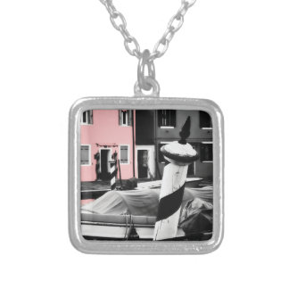BOLD BURANO Pink Color Pop Iconic Venice Poles Silver Plated Necklace