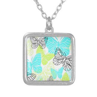 Bold Butterflies Square Pendant Necklace
