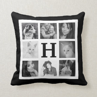 Bold BW Mod 16 Family Photos and Monogram Throw Pillow