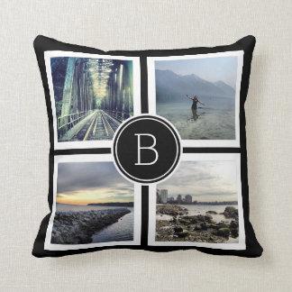 Bold BW Monogram Photo Collage Cushion
