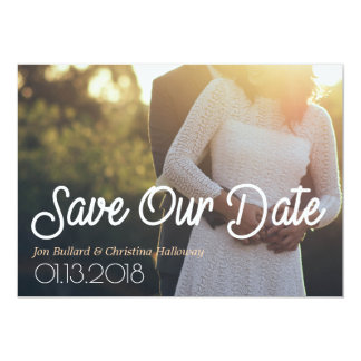 Bold Calligraphy Personalized Photo Save The Date Card