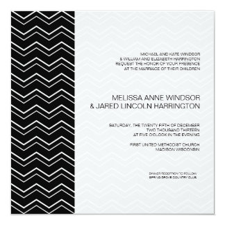 Bold Chevron Black and White Modern Affordable 13 Cm X 13 Cm Square Invitation Card