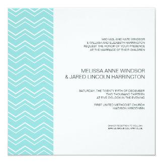 Bold Chevron Stripe Aqua Blue Modern Affordable 13 Cm X 13 Cm Square Invitation Card