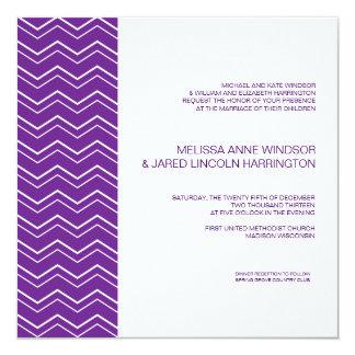 Bold Chevron Stripe Deep Purple Affordable 13 Cm X 13 Cm Square Invitation Card