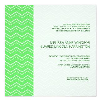 Bold Chevron Stripe Lime Green Modern Affordable 13 Cm X 13 Cm Square Invitation Card