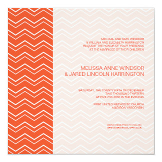 Bold Chevron Stripe Mandarin Orange Affordable 13 Cm X 13 Cm Square Invitation Card