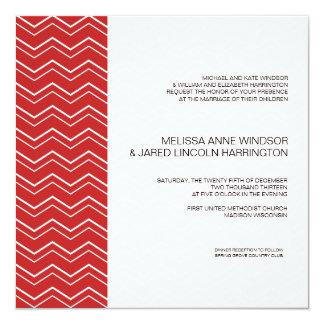 Bold Chevron Stripe Red  Modern Affordable 13 Cm X 13 Cm Square Invitation Card