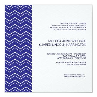 Bold Chevron Stripe Royal Blue Modern Affordable 13 Cm X 13 Cm Square Invitation Card