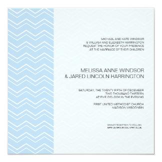 Bold Chevron Stripe Sky Blue Modern Affordable 13 Cm X 13 Cm Square Invitation Card