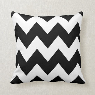 Bold Chevron Zigzag Pattern Black White Cushion