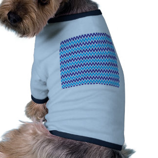 Bold Chevron Zigzags Teal Blue Striped Pattern Pet Clothing