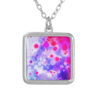 Bold & Chic Blue Pink Watercolor Abstract Silver Plated Necklace