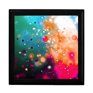 Bold & Chic Blue Red Orange Watercolor Abstract Large Square Gift Box