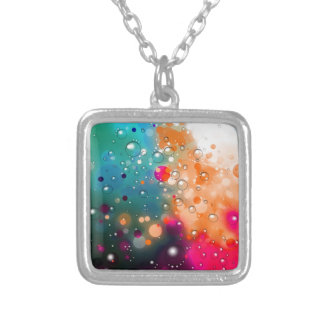 Bold & Chic Blue Red Orange Watercolor Abstract Silver Plated Necklace