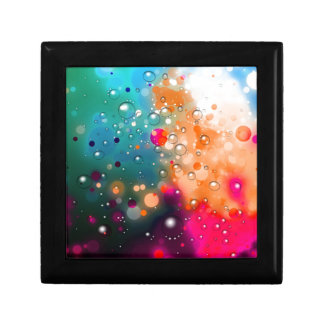 Bold & Chic Blue Red Orange Watercolor Abstract Small Square Gift Box
