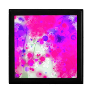Bold & Chic Floral Pink Watercolor Abstract Large Square Gift Box