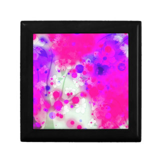 Bold & Chic Floral Pink Watercolor Abstract Small Square Gift Box