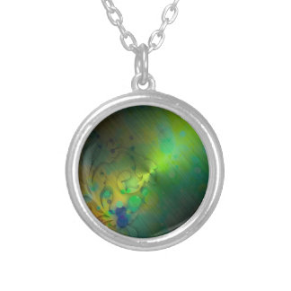 Bold & Chic GREEN TEAL Watercolor Abstract Silver Plated Necklace