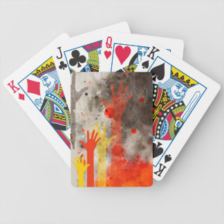 Bold & Chic Hands Red Watercolor Abstract Bicycle Playing Cards
