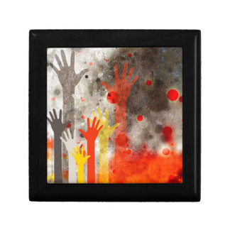 Bold & Chic Hands Red Watercolor Abstract Small Square Gift Box