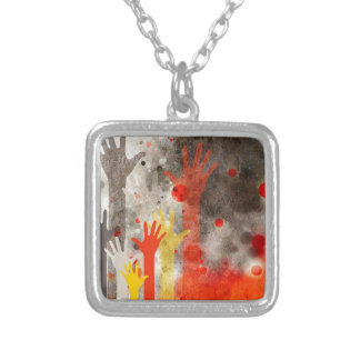 Bold & Chic Hands Red Watercolor Abstract Square Pendant Necklace
