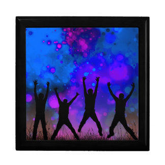 Bold & Chic Jumping for Joy Watercolor Abstract Large Square Gift Box