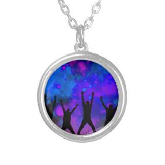 Bold & Chic Jumping for Joy Watercolor Abstract Silver Plated Necklace
