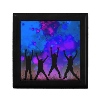 Bold & Chic Jumping for Joy Watercolor Abstract Small Square Gift Box